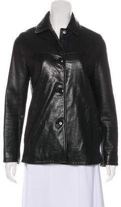 Nicole Miller Collared Leather Jacket