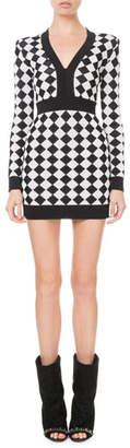 Balmain Long-Sleeve Diamond Knit Mini Dress
