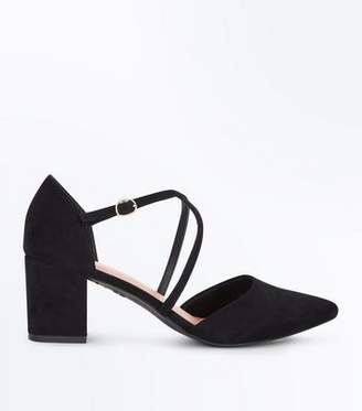 08a8136dc38 New Look Black Comfort Flex Suedette Pointed Strappy Block Heels