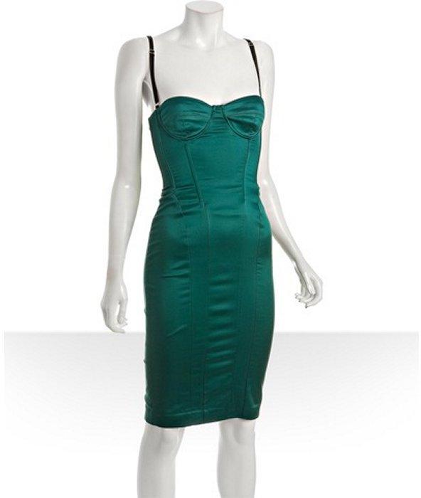 D&G teal stretch woven bustier dress