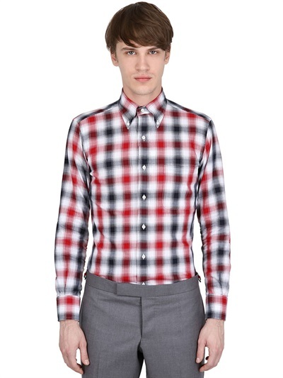Thom Browne Signature Checked Cotton Flannel Shirt
