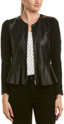 Rebecca Taylor Leather-Paneled Jacket
