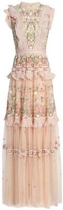 Needle & Thread Tiered Ruffled Embroidered Tulle Gown