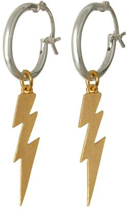 Harry Rocks - Gold Lightening Strikes on Silver Hoop Earrings