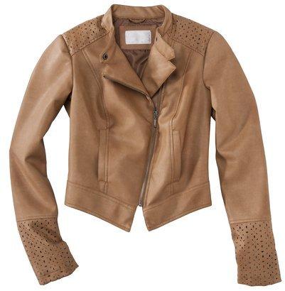 Xhilaration Junior's Faux Leather Jacket w/ Eyelet detail -Tan