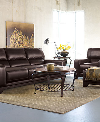Luke Leather Living Room Furniture, 3 Piece Set (Sofa, Chair and Ottoman)