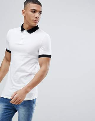 Asos Design Muscle Fit Polo In Jersey With Contrast Collar