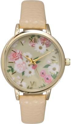 Olivia Pratt Women's Floral Dial Leather Watch