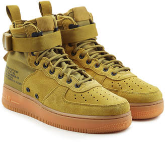 Nike SF Air Force 1 High Top Sneakers with Suede and Mesh