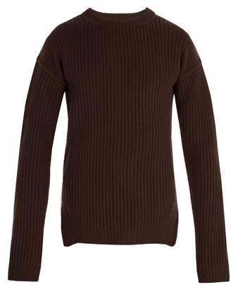 Rick Owens Fisherman Ribbed Wool Sweater - Mens - Brown