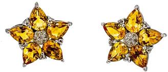 Arthur Marder Fine Jewelry Silver 0.42 Ct. Tw. Diamond & Citrine Earrings