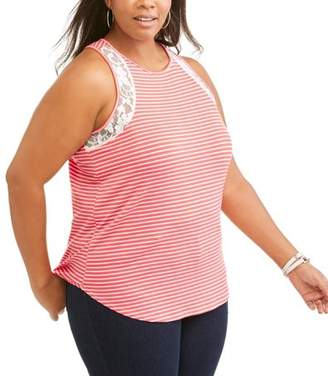American High Women's Plus Lace Stripe Hi Low Tank