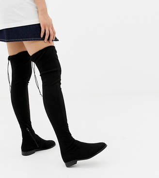 Asos Design DESIGN Kaska flat studded thigh high boots