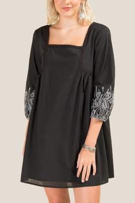 francesca's Harper Embroidered Shift Dress - Black