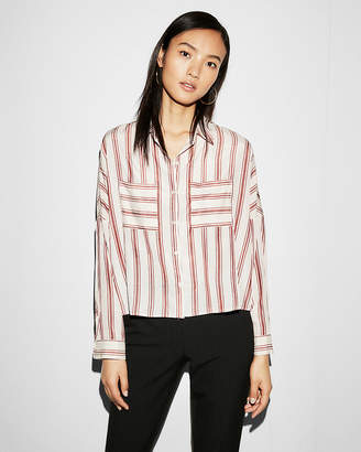 Express Striped Long Sleeve Boxy Shirt