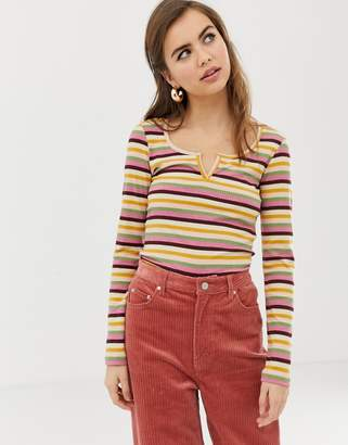 Asos Design DESIGN crop top with notch front in bright stripe rib