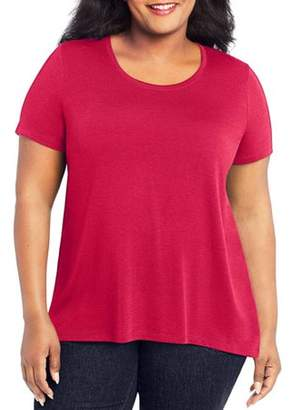 Just My Size Women's Plus Mixed Fabric Hi-Lo Top