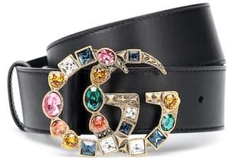 Gucci GG crystal-embellished leather belt