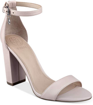 Guess Women's Bamboo Two-Piece Block-Heel Sandals Women's Shoes $89 thestylecure.com