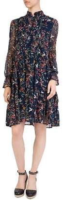 The Kooples Avian & Floral Print Silk Shift Dress