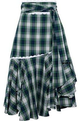 Marissa Webb Halsey Asymmetric Checked Cotton-Poplin Midi Skirt