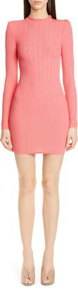 Balmain Shoulder Detail Ribbed Sweater Dress