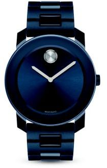 Movado Large Bold Navy Stainless Steel Bracelet Watch $595 thestylecure.com