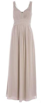 Quiz Mocha Sweetheart Chiffon Maxi Dress
