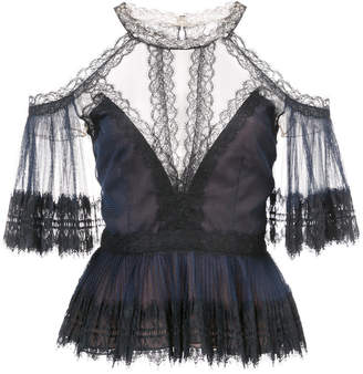 Marchesa lace detailed blouse