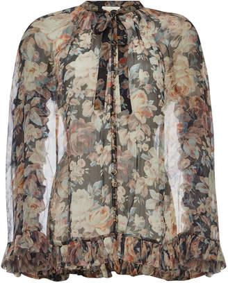 Zimmermann Tempest Frolic Blouse Printed Silk Chiffon Blouse