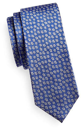 HAIGHT AND ASHBURY Micro-Floral Print Silk Tie