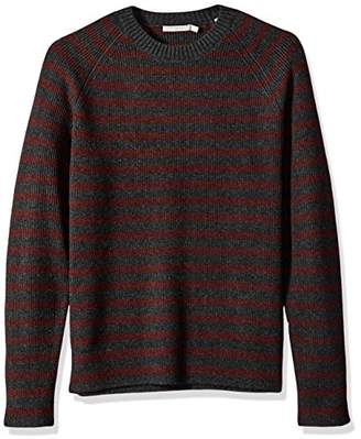 Vince Men's Raglan Sleeve Striped Ribbed Crew Neck Sweater