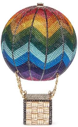 Judith Leiber Rainbow hot air balloon crystal pavé minaudière