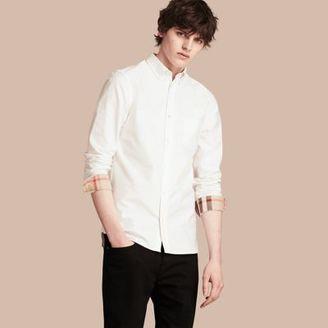 Burberry Check Detail Cotton Oxford Shirt $275 thestylecure.com