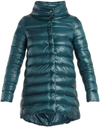 Funnel-neck quilted down jacket