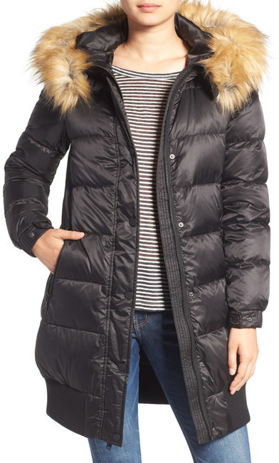 7 For All Mankind 7 For All Mankind Removable Faux Fur Trim Hood Quilted Coat