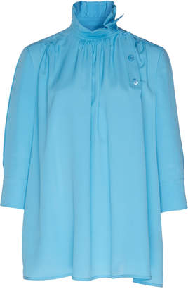 Calvin Klein Flared Silk De Chine Top With Ruched Collar