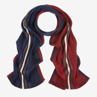 Bally Double Faced Stripe Scarf Multicolor, Men's wool scarf in multi-blue navy