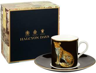 Halcyon Days Leopard Coffee Cup and Saucer