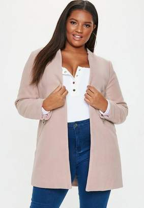 Missguided Plus Size Tailored Inverted Collar Coat Nude