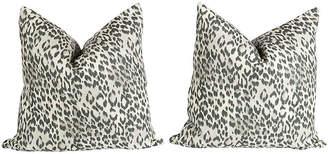 One Kings Lane Vintage Pewter Gray Linen Leopard Pillows - Set of 2 - Ivy and Vine