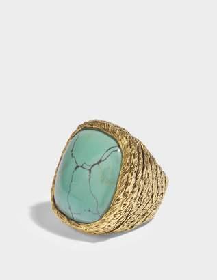 Aurelie Bidermann Miki Turquoise Ring in Turquoise 18K Gold-Plated Brass