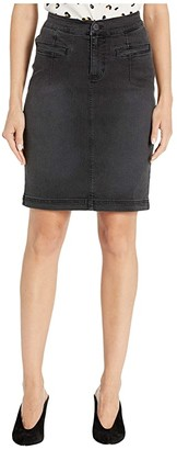 Liverpool Skirt w/ Curved Waistband in Stretch Black Denim in Ember