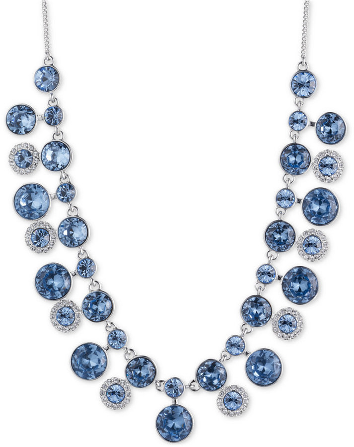 GivenchyGivenchy Silver-Tone Two-Layer Blue Crystal Collar Necklace