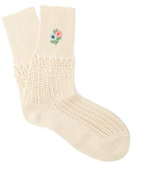 Gucci Floral Embroidered Pointelle Knit Ankle Socks - Womens - Cream