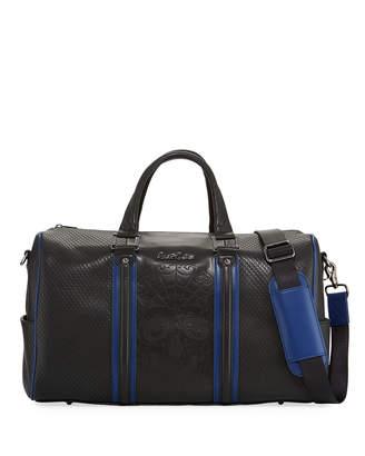 Robert Graham Lyman Perforated Skull Faux-Leather Duffel Bag, Black