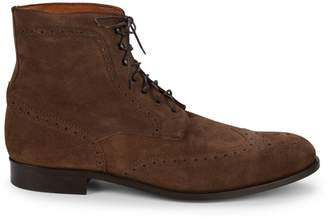 Saks Fifth Avenue Made In Italy Wingtip Suede Brogue Boots