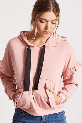 Forever 21 Ruffled Drawstring Hoodie