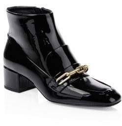 Burberry Chain Patent Leather Ankle Boots