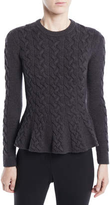 Jason Wu Crewneck Long-Sleeve Peplum Cable-Knit Merino Wool Sweater
